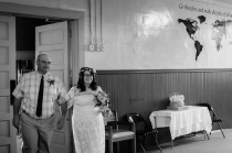 Father of the Bride escorts Bride down the aisle, Black and White Candid Wedding Portrait