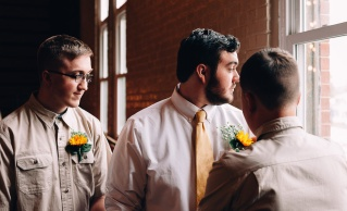 Groomsmen and Groom posing by the window, Wedding Portrait