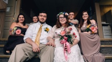 Wedding Party Posing and sitting down, Wedding Photography
