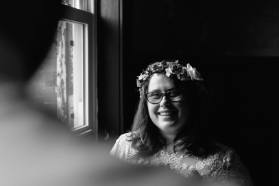 Beautiful Black and White of Bride with Natural Light coming in