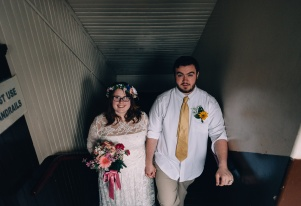 Hispter Bride and Groom Portrait down by the Stairs