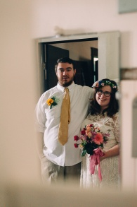 Hispter Bride and Groom Wedding Portrait with Mirror reflection