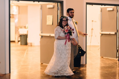 Hipster Bride and Groom entering Wedding Dance at Wedding Reception