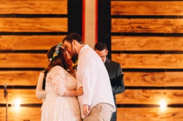 Bride and Groom Kiss for First Time