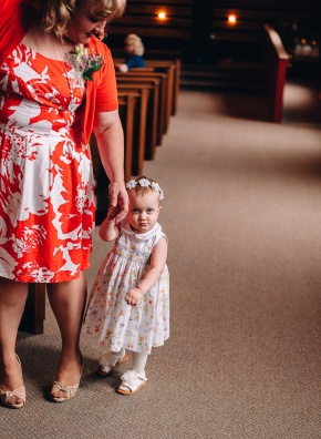 Flower Girl with Mom, moody light, wedding photography, Erie, Pa, Inside the church, beautiful light