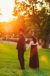 Golden Hour Session of Engaged Couple at Mellon Park