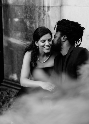 Fancy Black and White Portrait of Mixed Couple Kissing