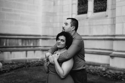 Stoic Portrait in Black and White of Couple at Heinz Chapel