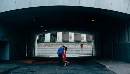 Very cute Engagement Portrait of Couple in a tunnel