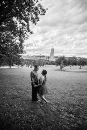 Black and White Portrait of Couple in a field in Oakland