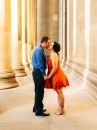 Cute Portrait of and Engaged Couple Kissing