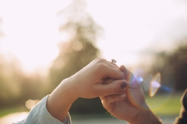 Amazing Portrait of Engagement Ring while Sunlight shines through