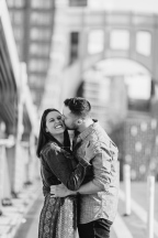 Lovely Black and White Portrait of man kissing her fiancee in Downtown Pittsburgh