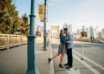 Super Cute Portrait of couple kissing in Downtown Pittsburgh, Pa