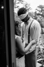 Black and White Portrait of Groom and Bride praying