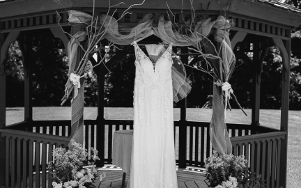 Portrait of wedding dress in black and white