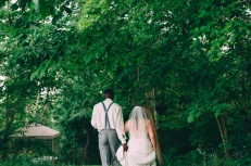 Portrait of Bride and Groom walking