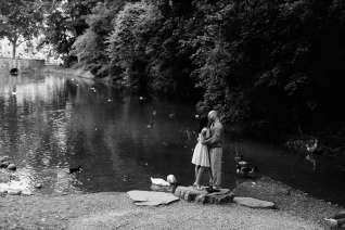 Black and White Portrait of man and woman kissing next to a lake with swans
